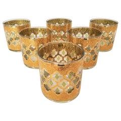 Mid Century Culver 22k Gold Glassware Set of 6