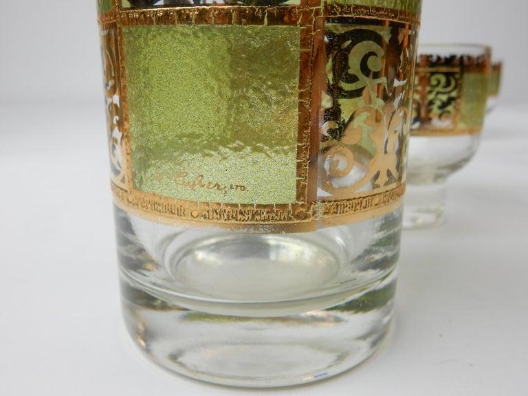 Mid-Century Modern Mid-Century Culver Ltd. Prado Bar Glasses Set Martini For Sale