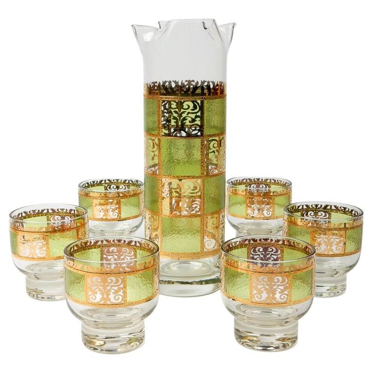 Mid-Century Culver Ltd. Prado Bar Glasses Set Martini For Sale