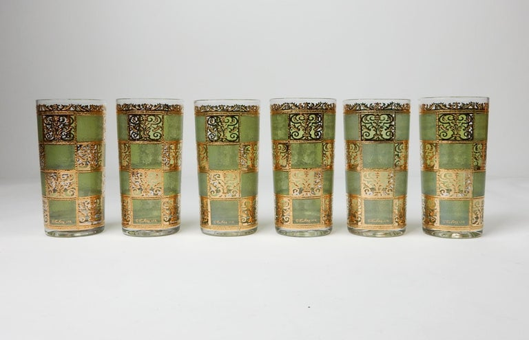Classic set of six bar glasses from Culver ltd. ~Prado~ series. Hi-ball size with gold foil and emerald green squares. These are all in very good condition showing just slight use. Careful, thoughtful packing included in your purchase.