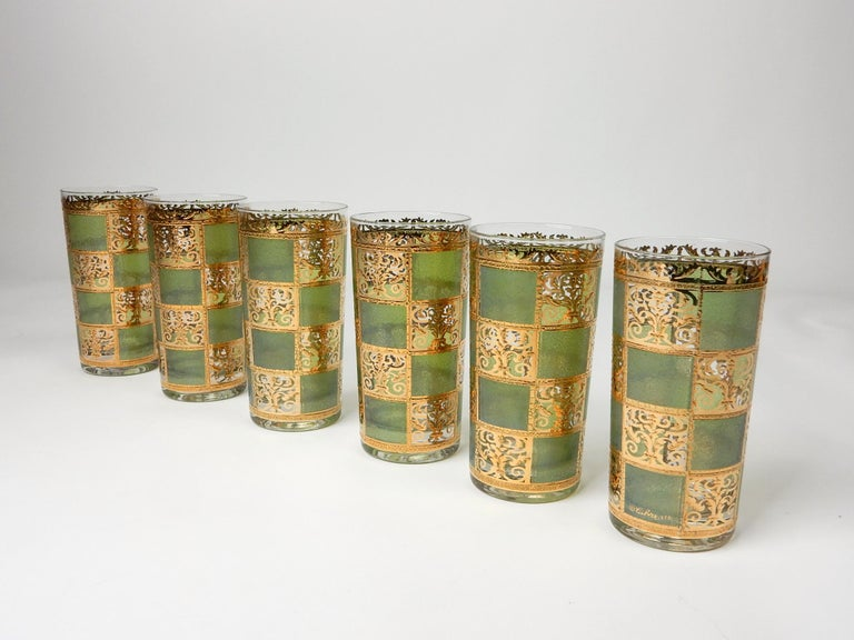 Mid-Century Modern Mid-Century Culver Ltd. Prado Gold Leaf Bar Hi-Ball Glass Set For Sale