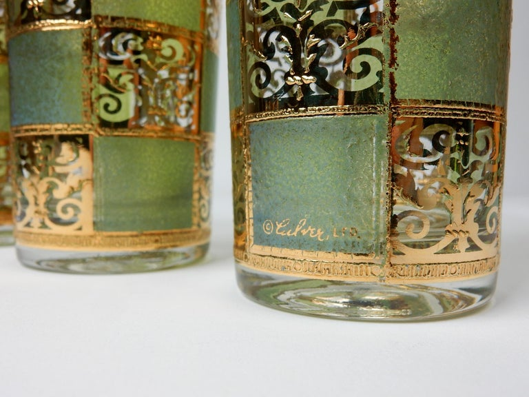 Mid-Century Culver Ltd. Prado Gold Leaf Bar Hi-Ball Glass Set In Good Condition For Sale In Las Vegas, NV
