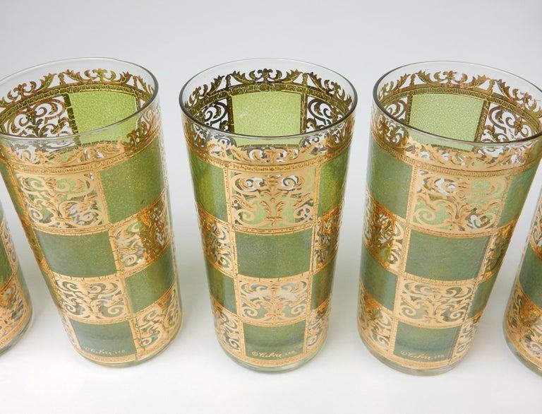 Mid-20th Century Mid-Century Culver Ltd. Prado Gold Leaf Bar Hi-Ball Glass Set For Sale