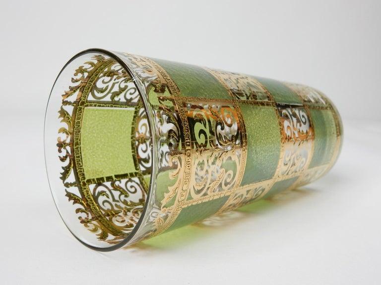 Mid-Century Culver Ltd. Prado Gold Leaf Bar Hi-Ball Glass Set For Sale 1