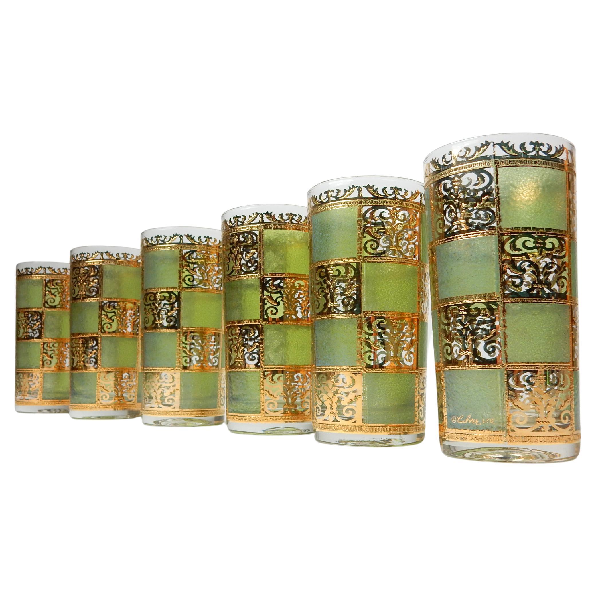 Mid-Century Culver Ltd. Prado Gold Leaf Bar Hi-Ball Glass Set