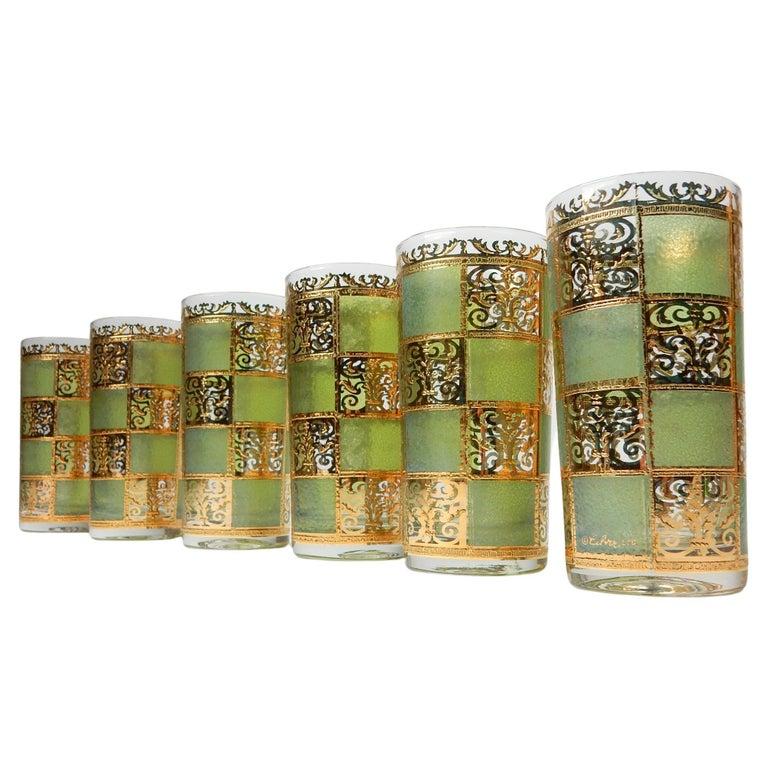 Mid-Century Culver Ltd. Prado Gold Leaf Bar Hi-Ball Glass Set For Sale