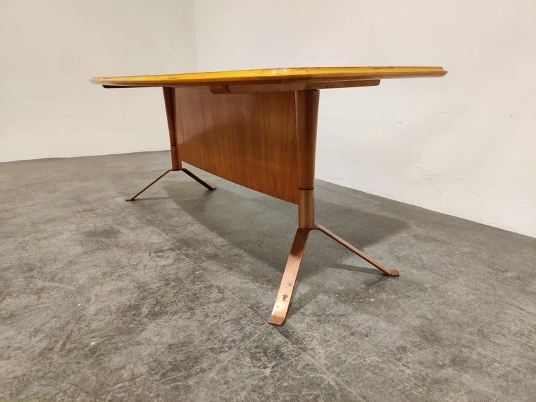 German Midcentury Curved Coffee Table, 1960s For Sale