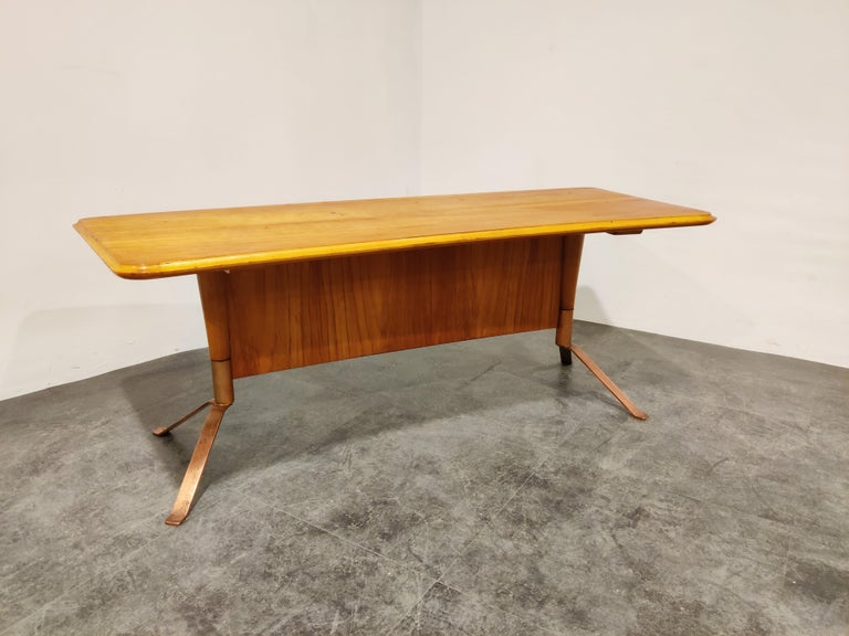 Copper Midcentury Curved Coffee Table, 1960s For Sale