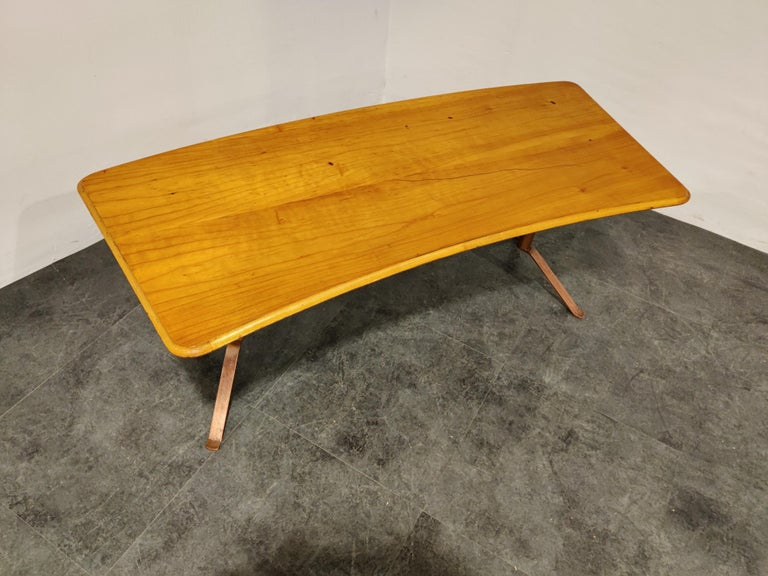 Midcentury Curved Coffee Table, 1960s For Sale 1