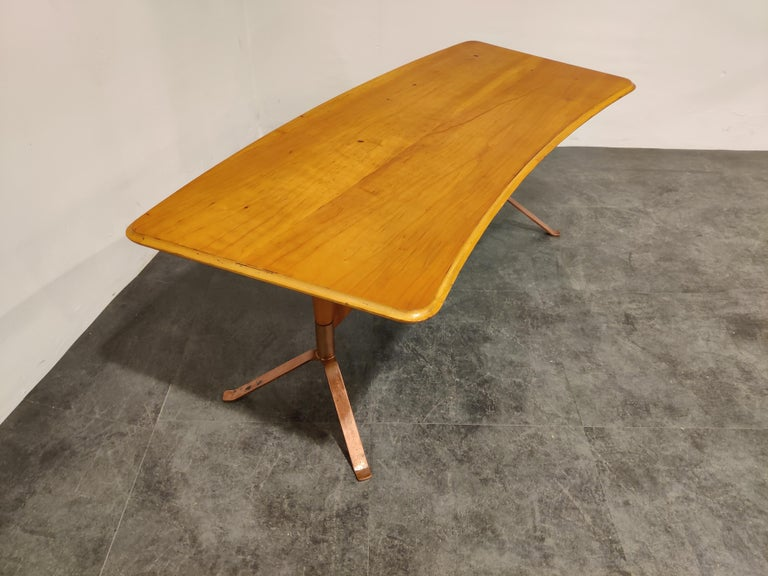 Midcentury Curved Coffee Table, 1960s For Sale 2