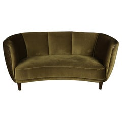 Midcentury Curved Velour Sofa from Denmark, 1950s