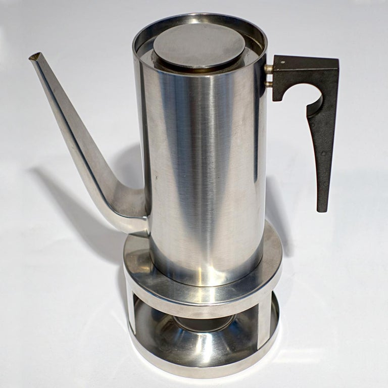 Mid-Century Modern Midcentury Cylinda Coffee Pot and Stove by Arne Jacobsen for Stelton For Sale