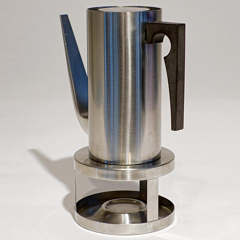Danish Midcentury Cylinda Coffee Pot and Stove by Arne Jacobsen for Stelton For Sale
