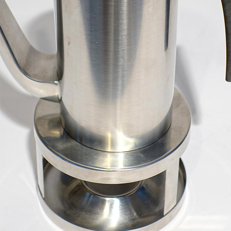 Mid-20th Century Midcentury Cylinda Coffee Pot and Stove by Arne Jacobsen for Stelton For Sale