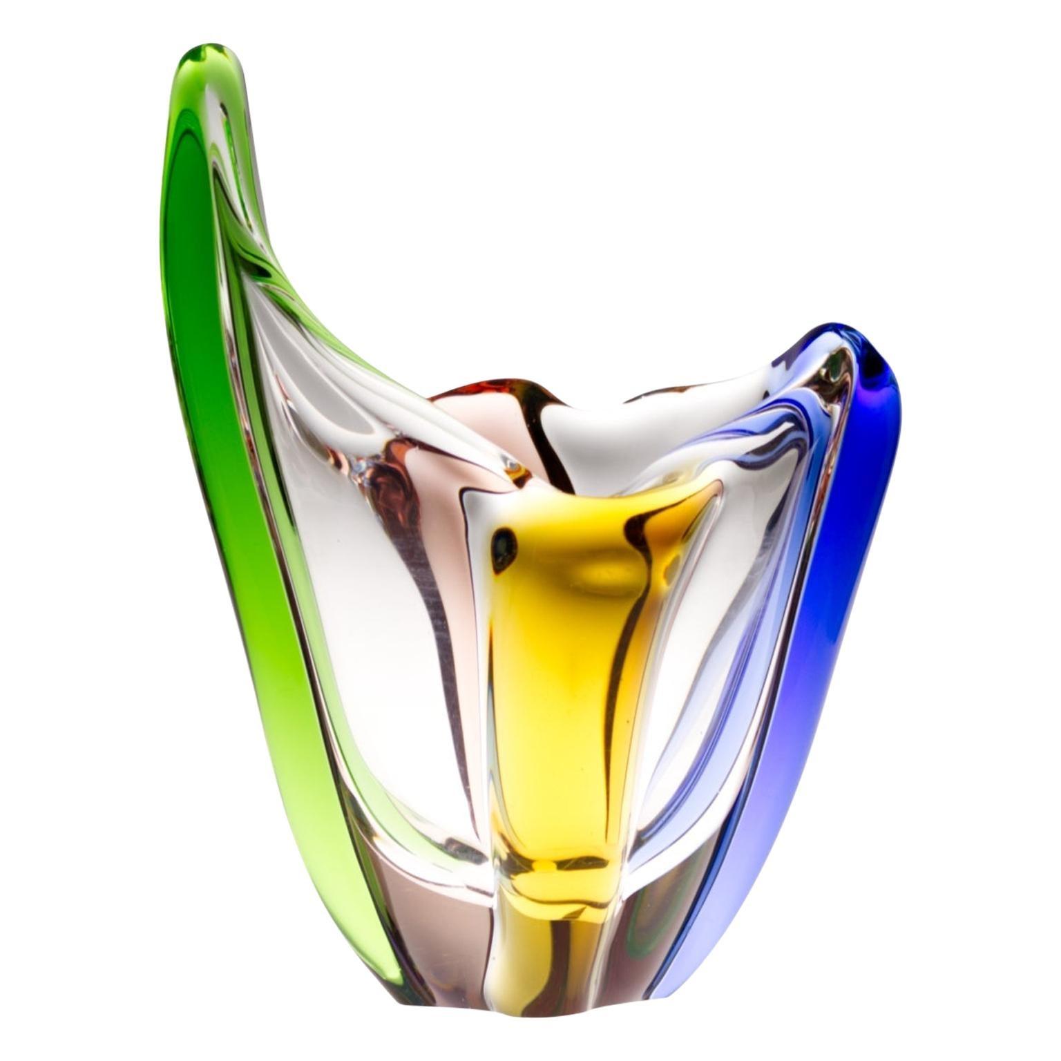 Mid Century Czech Art Glass Rhapsody Vase by Frantisek Zemek For Mstisov, 1950s