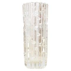 Mid Century Czech Clear Geometric Glass Vase Frantisek Vizner, 1965