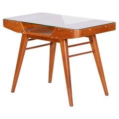 Midcentury Czech Small Oak Table, Glass Desk, František Jirák, Tatra, 1950s