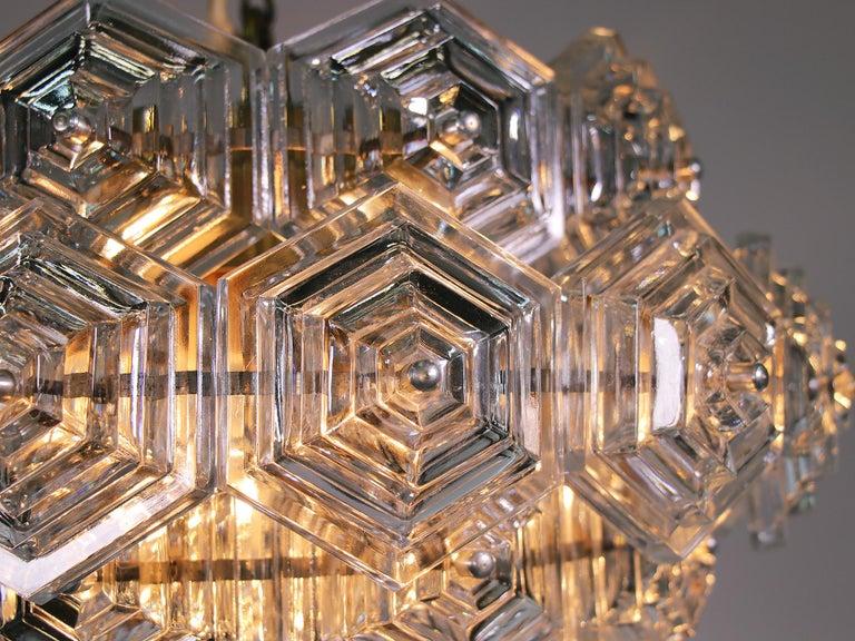 Mid-Century Modern Midcentury Dandelion Sputnik Glass Prisms Chandelier VEB, Germany, 1960s For Sale