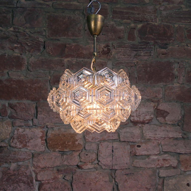 Pressed Midcentury Dandelion Sputnik Glass Prisms Chandelier VEB, Germany, 1960s For Sale