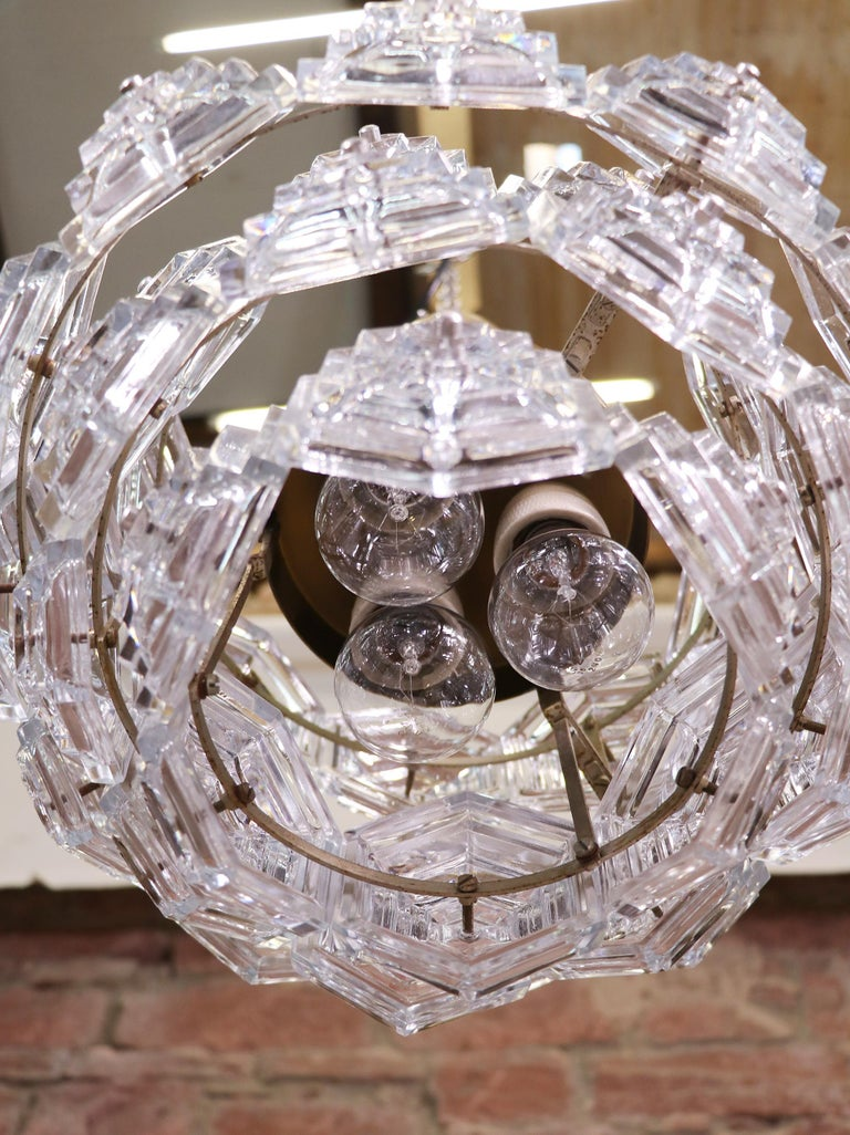 Mid-20th Century Midcentury Dandelion Sputnik Glass Prisms Chandelier VEB, Germany, 1960s For Sale