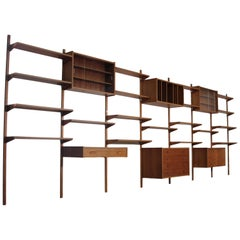 Midcentury Danish 7 Bay Teak Shelving Unit By PS Systems