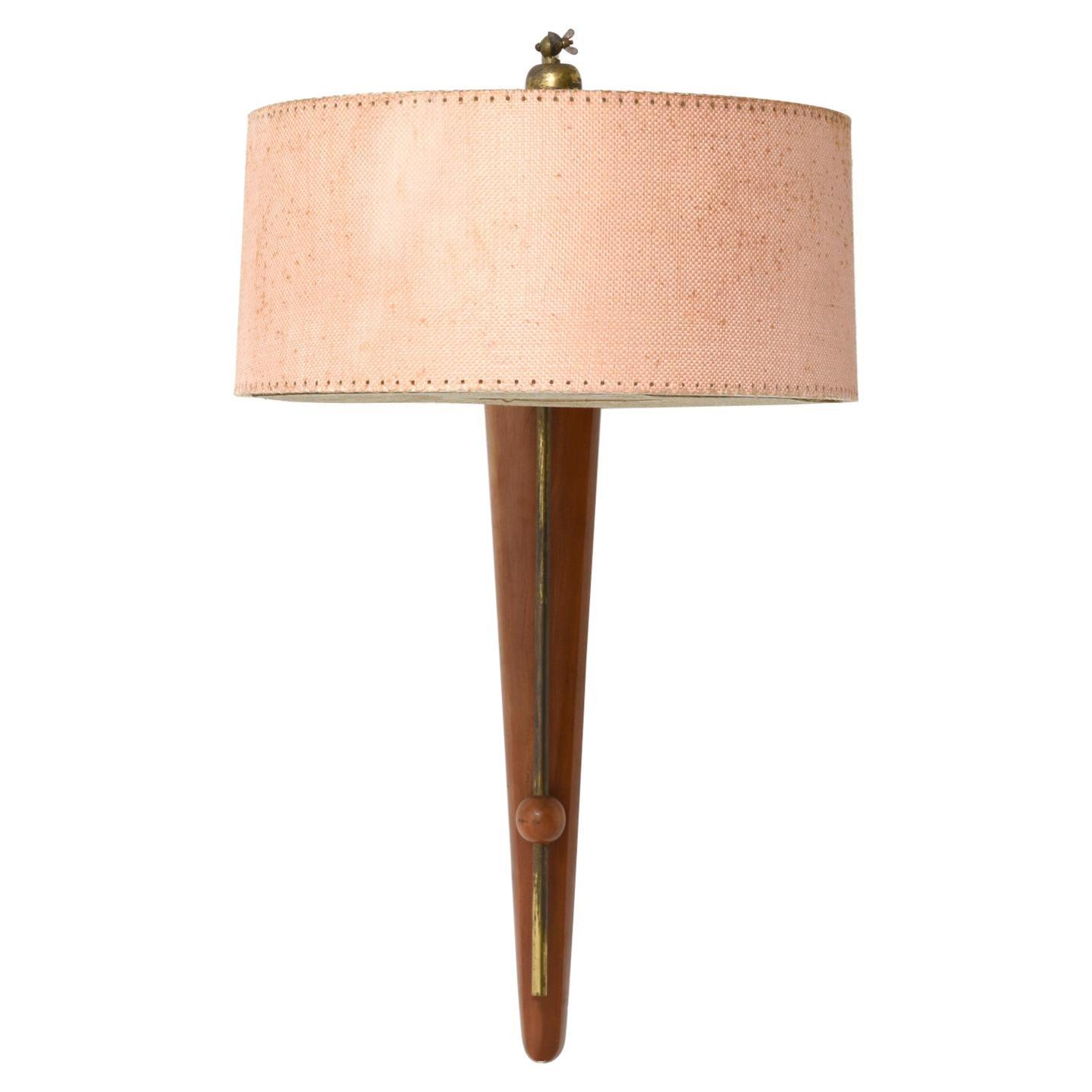 Mid-Century Danish Adjustable Teak and Brass Wall Lamp, 1958