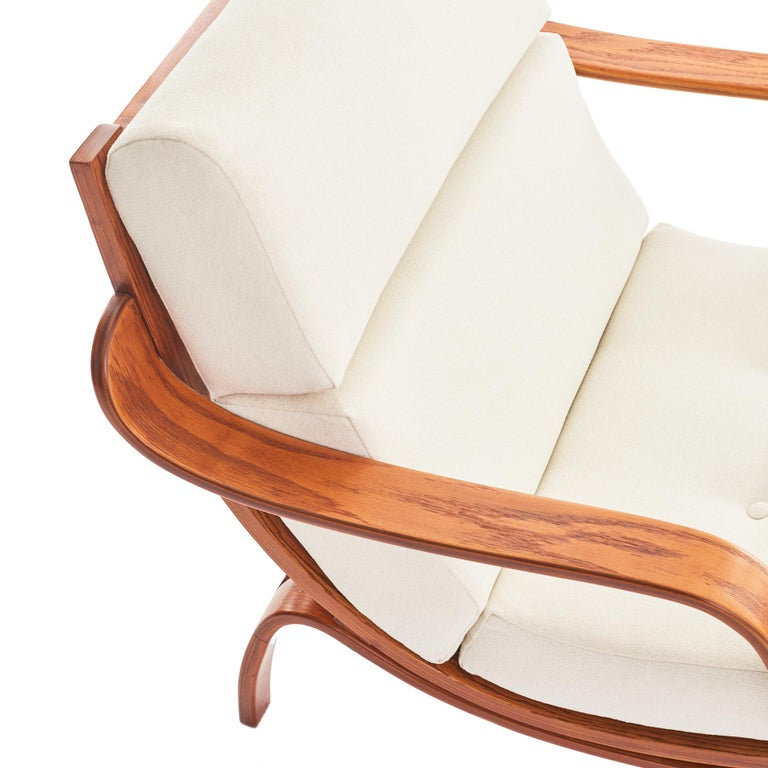 Wool Midcentury Danish Bentwood Lounge Chair For Sale