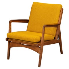Midcentury Danish Dark Oak with Ocher Yellow Pillows Accent Chair, 1960s