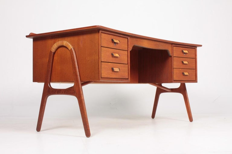 Cane Midcentury Danish Design Desk in Teak by Svend Aage Madsen, 1950s For Sale
