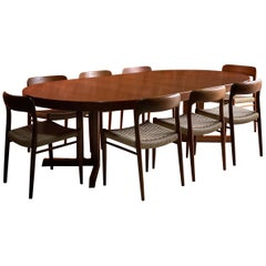 Mid-Century Danish Dining Room Set by Niels Otto Møller 8 Chairs Model 75