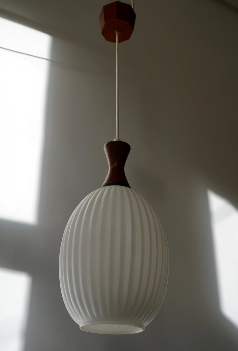 Midcentury Danish Glass and Wood Chandelier or Pendant Light For Sale 4