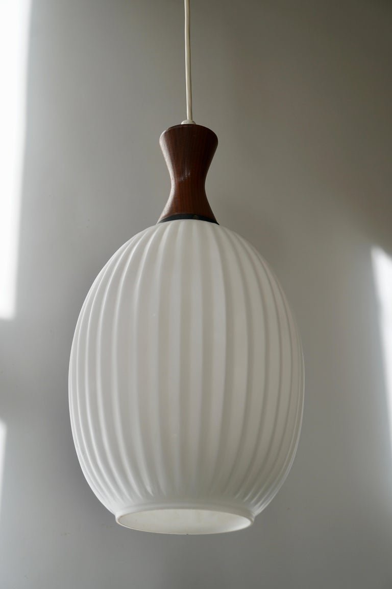 20th Century Midcentury Danish Glass and Wood Chandelier or Pendant Light For Sale