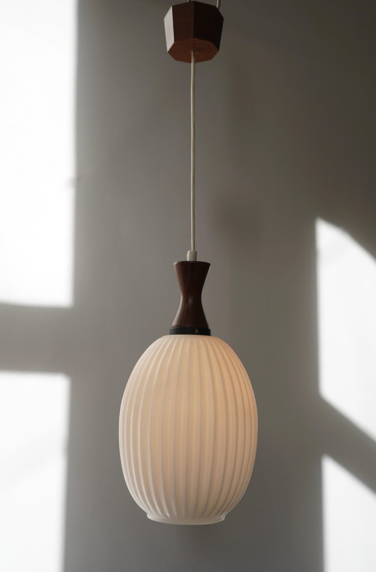 Midcentury Danish Glass and Wood Chandelier or Pendant Light For Sale 1