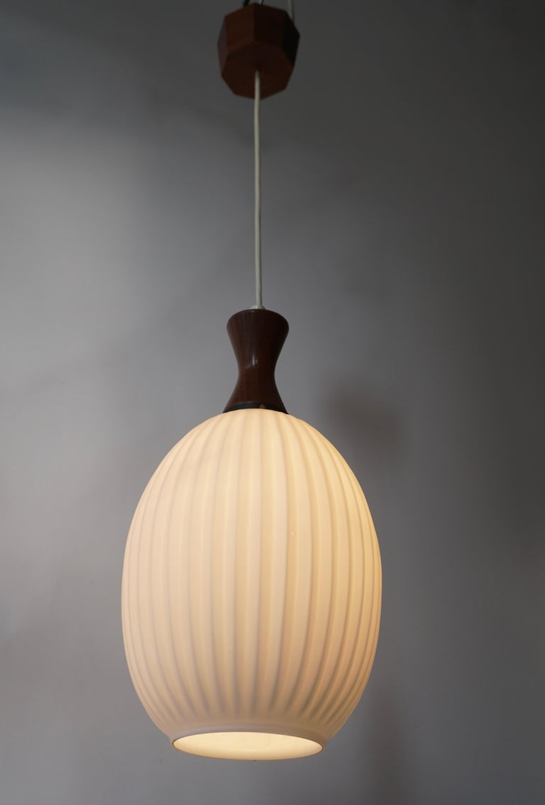 Midcentury Danish Glass and Wood Chandelier or Pendant Light For Sale 2
