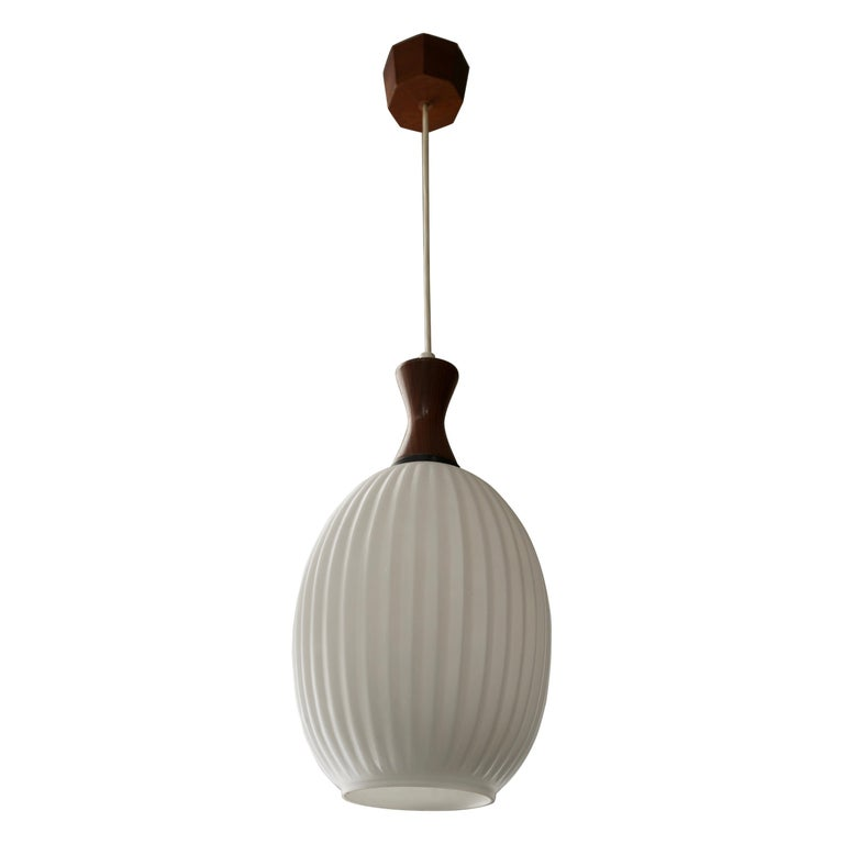 Midcentury Danish Glass and Wood Chandelier or Pendant Light For Sale