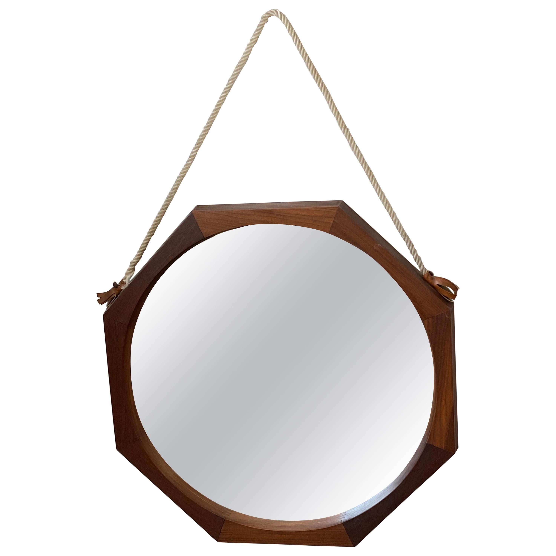 Mid-Century Danish Hanging Wall Mirror