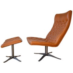 Midcentury Danish Leather Swivel Chair and Ottoman, 1970s