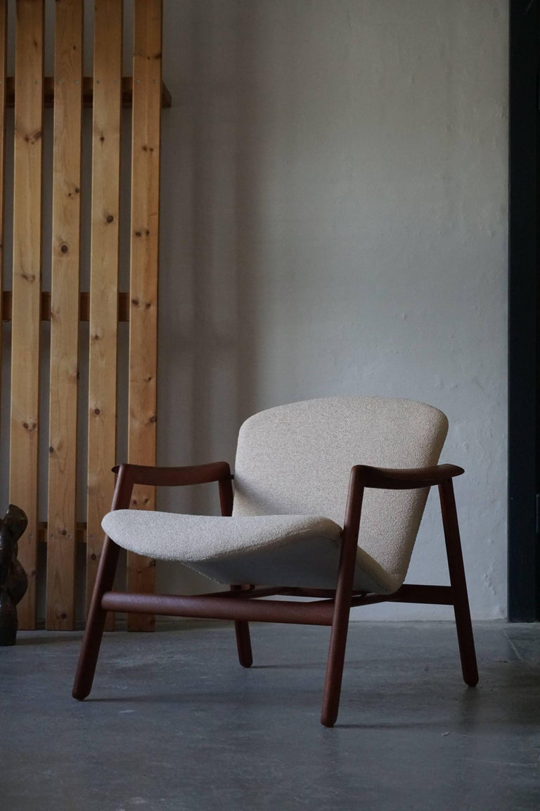 Mid Century Danish Lounge Chair in Teak and Bouclé, Finn Juhl Style, 1960s For Sale 5