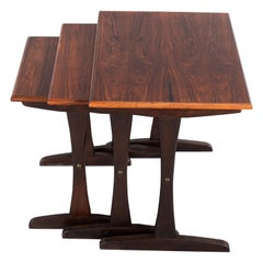 Midcentury Danish Mahogany Nesting Tables by Kai Kristiansen, Set of 3, 1960s