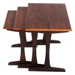 Midcentury Danish Mahogany Nesting Tables by Kai Kristiansen, Set of 3, 1960s