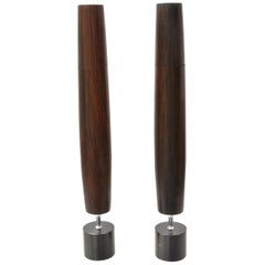 Mid Century Danish Modern 1964 Ronson Varaflame Rosewood Candlesticks - a Pair