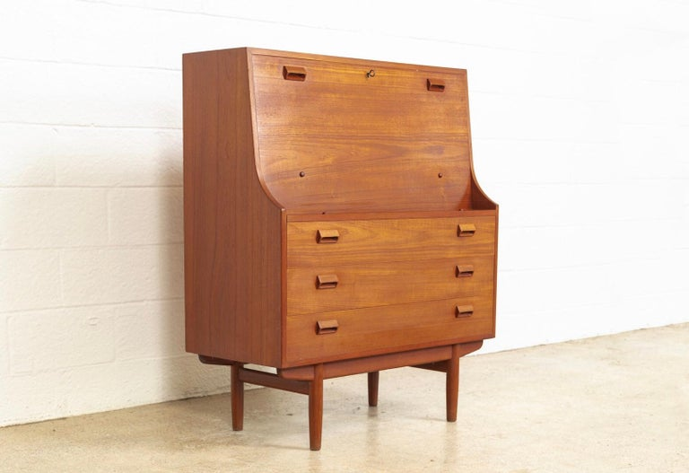 Mid-Century Modern Midcentury Danish Modern Borge Mogensen Teak Wood Drop Front Secretary Desk For Sale