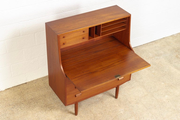 Brass Midcentury Danish Modern Borge Mogensen Teak Wood Drop Front Secretary Desk For Sale