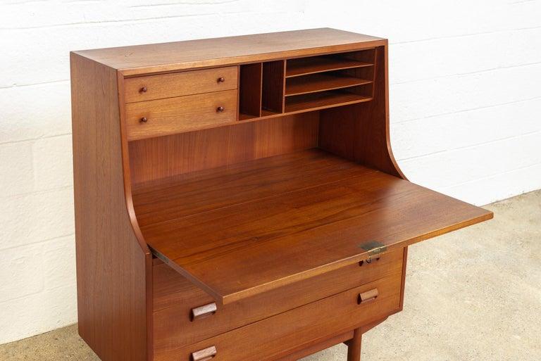 Midcentury Danish Modern Borge Mogensen Teak Wood Drop Front Secretary Desk For Sale 1