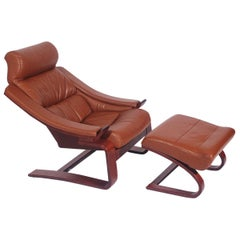 Mid-Century Danish Modern Cantilevered Leather Lounge Chair with Foot Stool