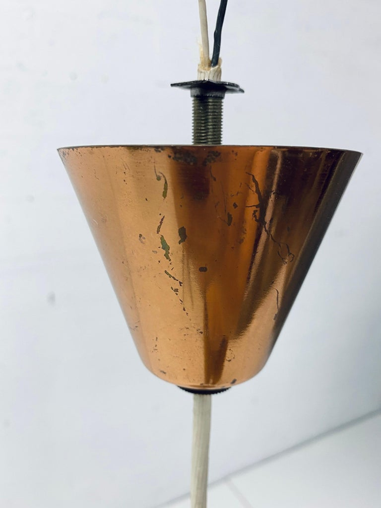 Mid-Century Danish Modern Copper Cone Pendant Ceiling Lamp, 1950s For Sale 3