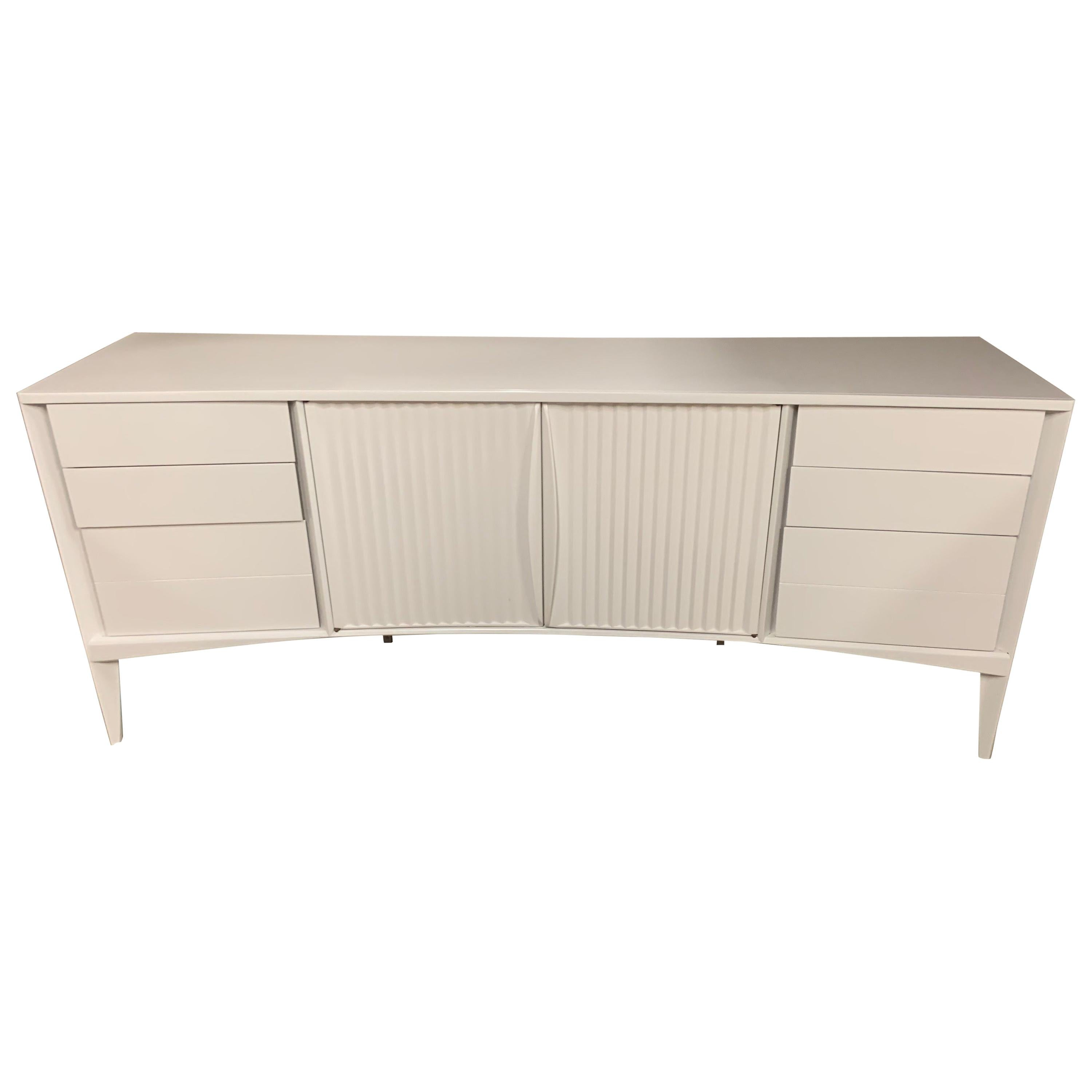 Mid-Century Danish Modern Curved Lacquered White Cabinet Dresser Buffet