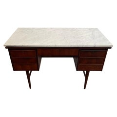 Mid-Century Danish Modern Desk with Marble Top