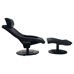 Mid-Century Danish Modern Ebony & Leather Swivel Lounge Chair & Ottoman Set