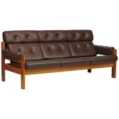 "Mid-Century Danish Modern Ekornes Teak and Leather ""Amigo"" Three-Seat Sofa"